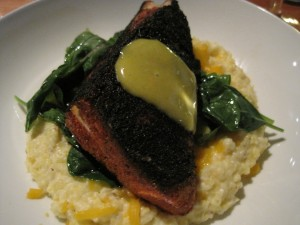 Blackened Amberjack over Cheddar Cheese Grits