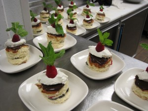 Desserts in the kitchen, waiting for their debut