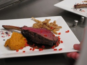 Venison Lollipop with Mole Sauce, Sweet Potato Puree and Fried Onion Straws