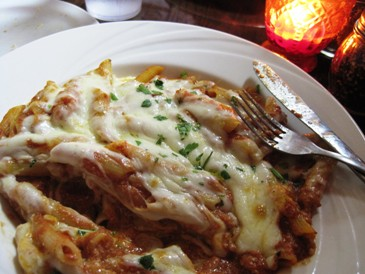 Baked Penne with tomato sauce, ricotta and mozzarella